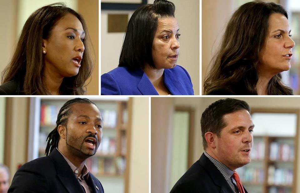 A composite image of five candidates for Suffolk district attorney, who appeared at a debate in April. From top left, Linda Champion, Rachael Rollins, Shannon McAuliffe, Evandro Carvalho, and Greg Henning.