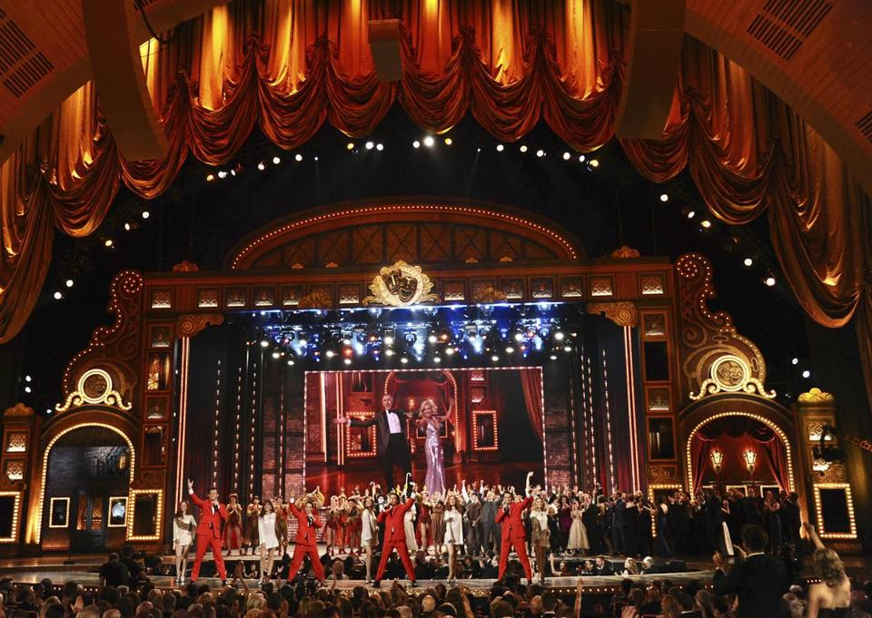 "FILE - In this June 7, 2015 file photo, the cast of ""Jersey Boys"" performs at the 69th annual Tony Awards at Radio City Music Hall in New York. The Tony Awards kick off on Sunday, June 10, 2018 with a pair of first-time hosts, no clear juggernaut like ""Hamilton"" to watch but a likely tune-in assist by Bruce Springsteen. Josh Groban and Sara Bareilles face their biggest audience yet and a careful political balancing act when they co-host the CBS telecast from the massive 6,000-seat Radio City Music Hall. (Photo by Charles Sykes/Invision/AP, File)"