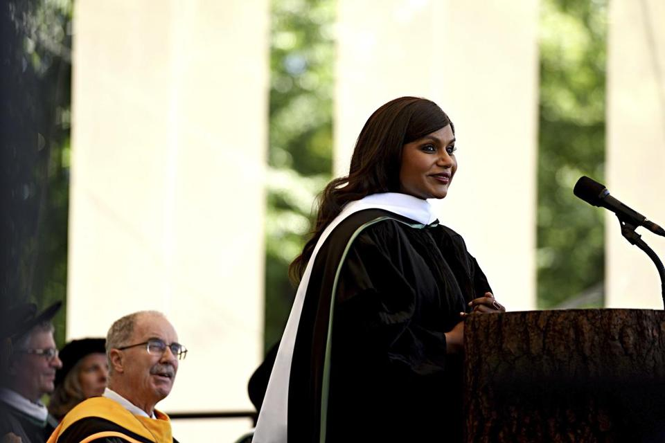 Actor, writer, and comedian Mindy Kaling spoke Sunday during Dartmouth College's commencement.