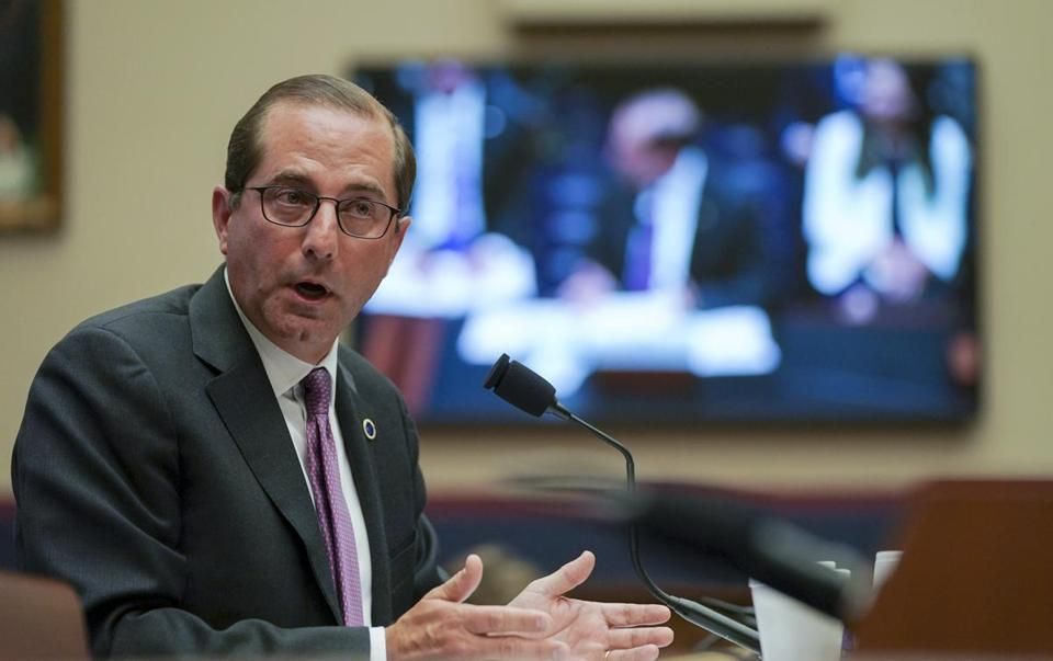 "Health and Human Services Secretary Alex Azar testifies during the House Education and Workforce Committee hearing on ""Examining the Policies and Priorities of the U.S. Department of Health and Human Services,"" on Capitol Hill in Washington, Wednesday, June 6, 2018. (AP Photo/Carolyn Kaster)"