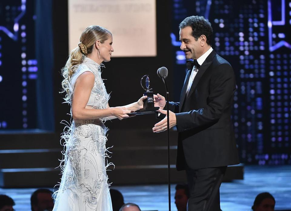 "Kelli O'Hara presents Tony Shalhoub with the Tony Award for best leading actor in a musical, for his performance in ""The Band's Visit."""