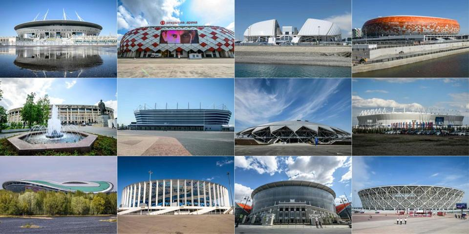 (COMBO) This combination of pictures created on May 29, 2018 shows the 67,000-seater Saint Petersburg Stadium in Saint Petersburg, the 45,000-seater Spartak Stadium in Moscow ,the 48,000-seater Fisht Stadium in Sochi ,the 44,000-seater stadium Mordovia Arena in Saransk, the 80,000-seater Luzhniki Stadium in Moscow, the 35,000-seater Kaliningrad Stadium in Kaliningrad, the 45,000-seater stadium Samara Arena in Samara, the 45,000-seater stadium Rostov Arena in Rostov-on-Don, the 45,000-seater stadium Kazan Arena in Kazan, the 45,000-seater Nizhny Novgorod Stadium in Nizhny Novgorod, the 35,000-seater stadium Ekaterinburg Arena in Yekaterinburg, the 45,000-seater stadium Volgograd Arena in Volgograd. The 12 venues will host the matches of the 2018 FIFA World Cup football tournament. / AFP PHOTO / Mladen ANTONOVMLADEN ANTONOV/AFP/Getty Images