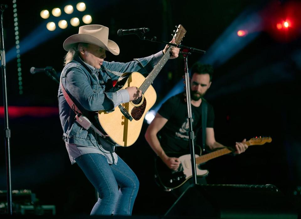 Dwight Yoakam (pictured performing in Nashville) played an hourlong set to close out the LSD Tour stop at Blue Hills Bank Pavilion Tuesday.