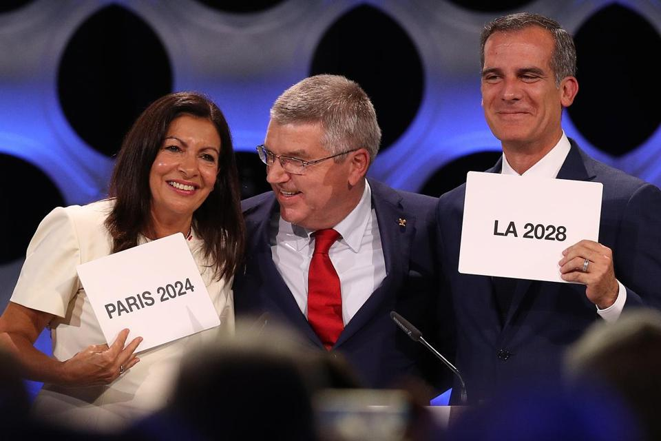 In September, Paris Mayor Anne Hidalgo, and Los Angeles Mayor Eric Garcetti celebrated their successful Olympic bids.
