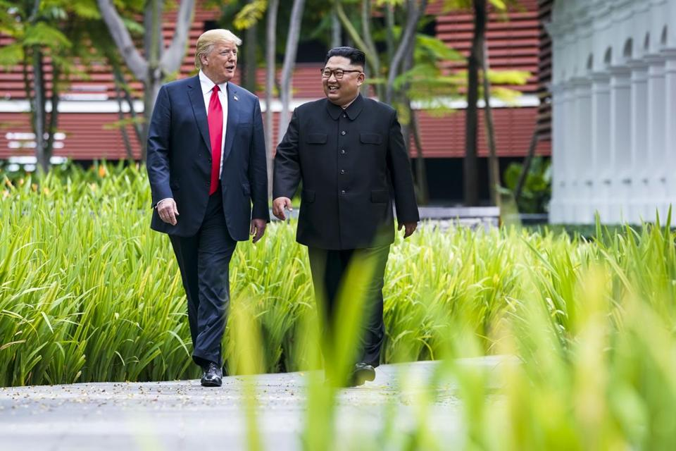 President Trump and Kim Jong Un, the leader of North Korea, walked together in Singapore.