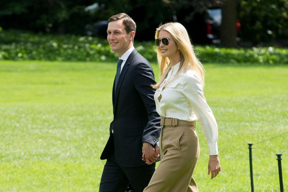 Mandatory Credit: Photo by MICHAEL REYNOLDS/EPA-EFE/REX/Shutterstock (9698804f) Ivanka Trump and Jared Kushner First daughter Ivanka Trump and White House Senior Advisor Jared Kushner, Washington, USA - 01 Jun 2018 First daughter Ivanka Trump (R) and White House Senior Advisor Jared Kushner (L) walk across the South Lawn of the White House to join US President Donald J. Trump (not pictured) aboard Marine One en route to Camp David, in Washington, DC, USA, 01 June 2018.