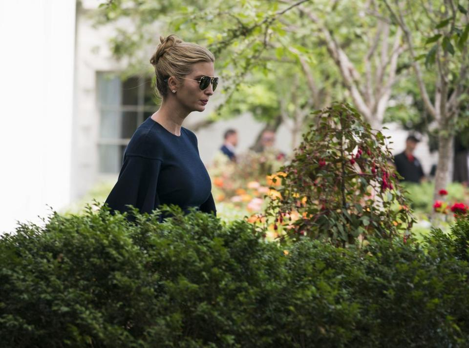 "Ivanka Trump, President Donald Trump's daughter and adviser, in the Rose Garden at the White House in Washington, June 7, 2018. Tens of thousands of people took to social media in China to speculate what authentic saying Ivanka Trump might have intended to use after she tweeted out a ""Chinese proverb"" that was no such thing on the occasion of her father's summit with Kim Jong-un. (Doug Mills/The New York Times)"