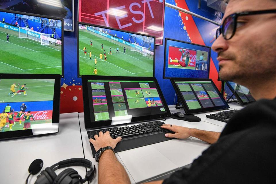 A view of the video assistant refereeing (VAR) operation room at the 2018 FIFA World Cup Russia International Broadcast Centre (IBC) in Moscow on June 9, 2018. / AFP PHOTO / Mladen ANTONOVMLADEN ANTONOV/AFP/Getty Images