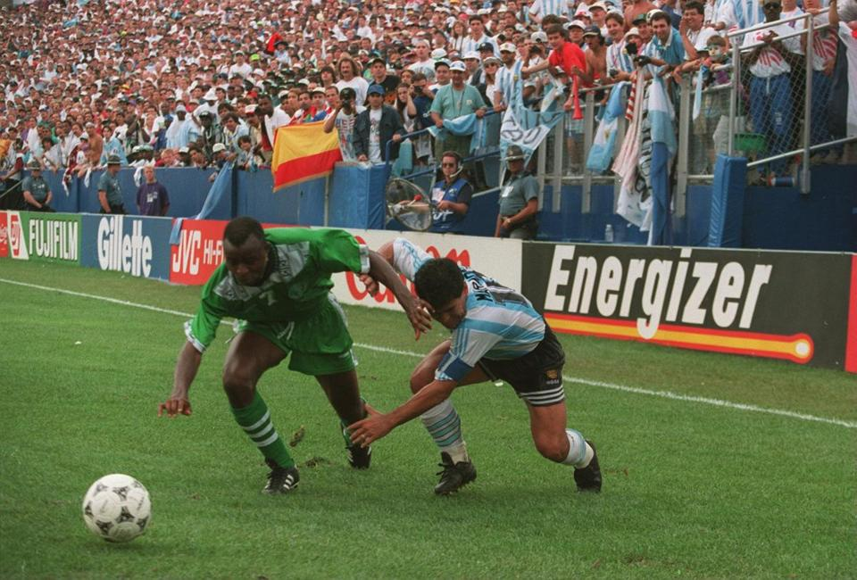 Foxboro Stadium hosted six matches during the 1994 World Cup, including this one between Argentina and Nigeria.