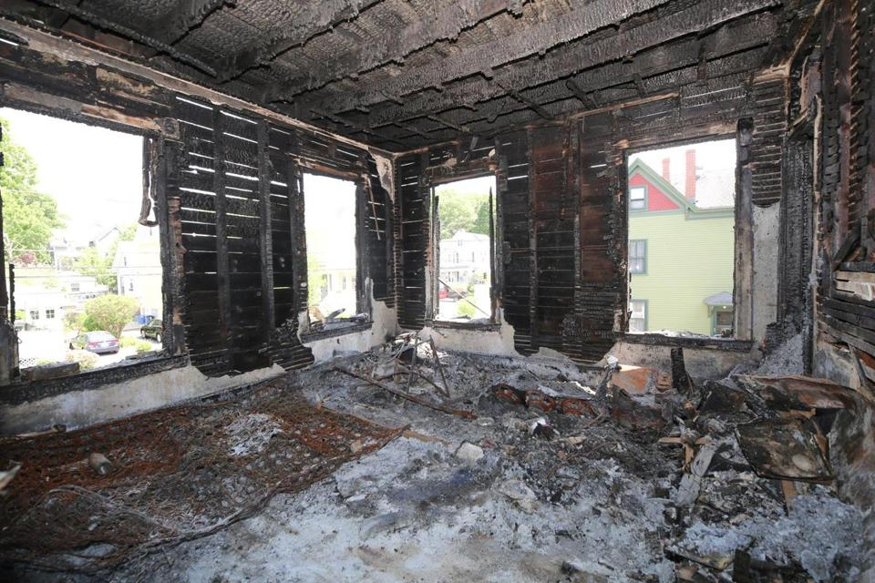 The inside of the home after a March fire devastated the building.