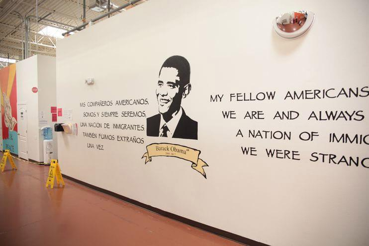 "The mural of former president Barack Obama features a line from a speech in which he announced protections for some undocumented immigrants: ""My fellow Americans, we are and always will be a nation of immigrants. We were strangers once, too."""