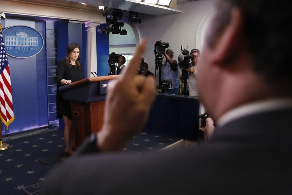 Brian Karem, White House correspondent for Playboy Magazine, reacted to responses by Sarah Sanders on Thursday.
