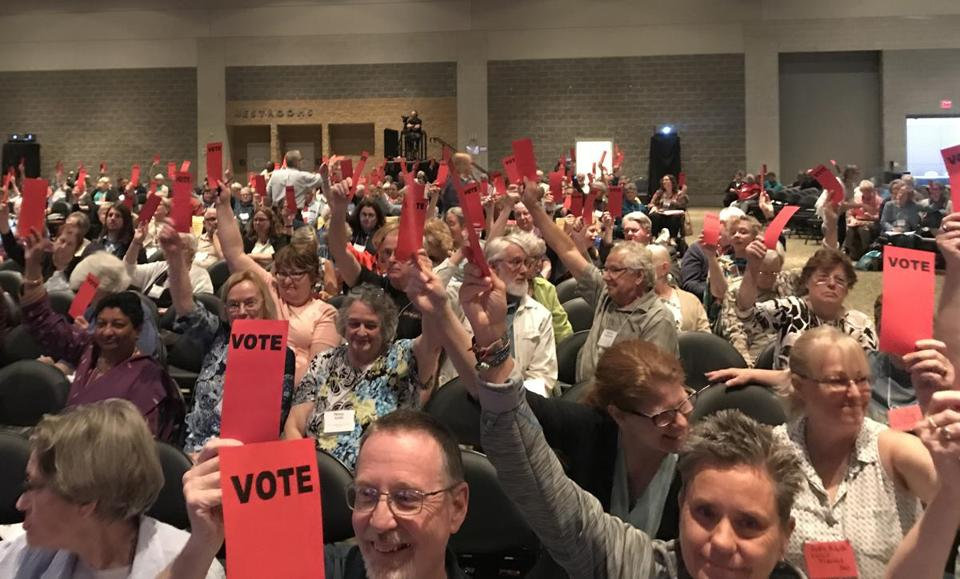 Delegates representing United Church of Christ congregations in Massachusetts voted to join with sister churches in Rhode Island and Connecticut in the effort.