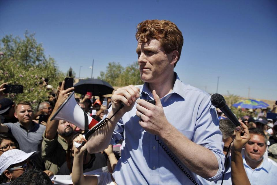 Representative Joe Kennedy III spoke during a rally in Tornillo, Texas, to protest the Trump administration's policy on separating migrant children from their parents.