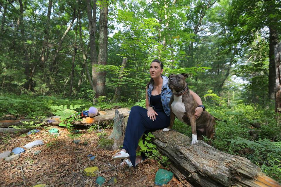 Alison Reeves, 29, took Faith, her late brother's beloved dog, for a walk in the Blue Hills.