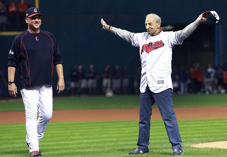 Former Red Sox manager Terry Francona (left) with his father, Tito, at Cleveland's Progressive Field in 2016.