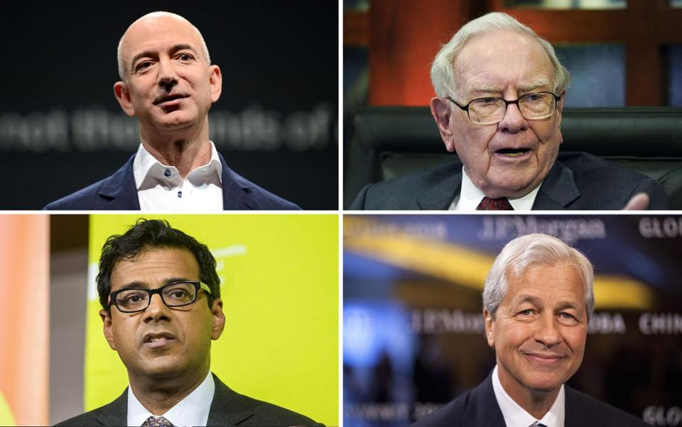 Clockwise from top left: Jeff Bezos, Warren Buffett, Jamie Dimon, and Dr. Atul Gawande.