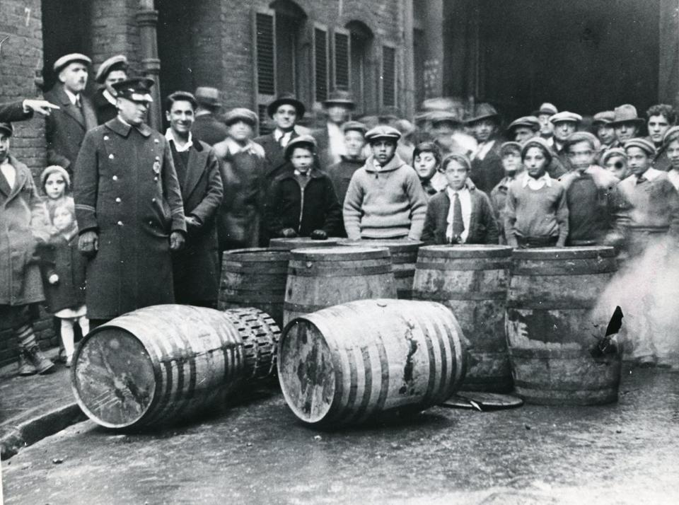 January 31 1933 / Boston Globe Photo Files / Prohibition / Wine seized by police at 5 Langdon Place in the North End 060216