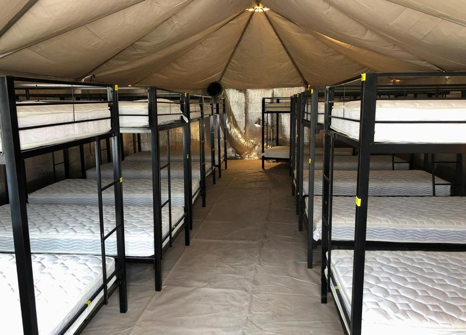 Beds at the shelter used to house unaccompanied foreign children in Tornillo, Texas.