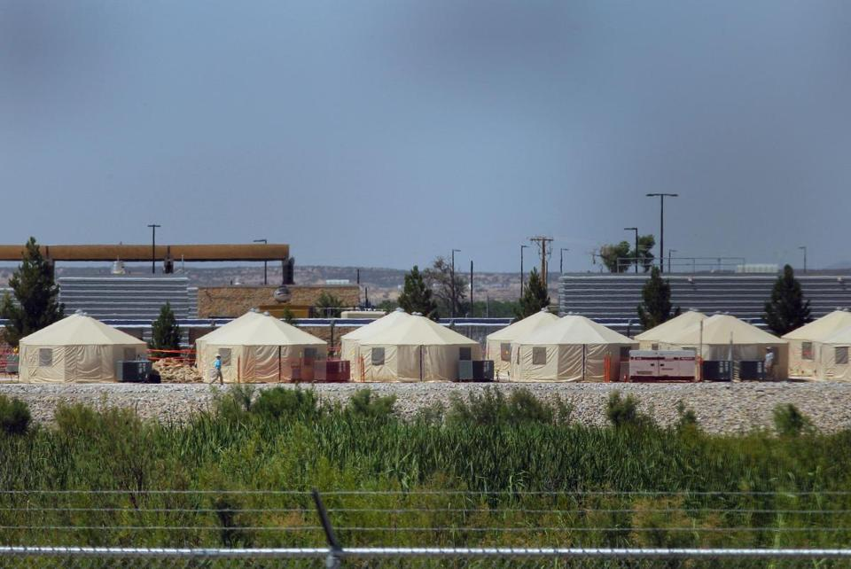 View of a temporary detention centre for illegal immigrant children and teenagers at Tornillo, Texas.