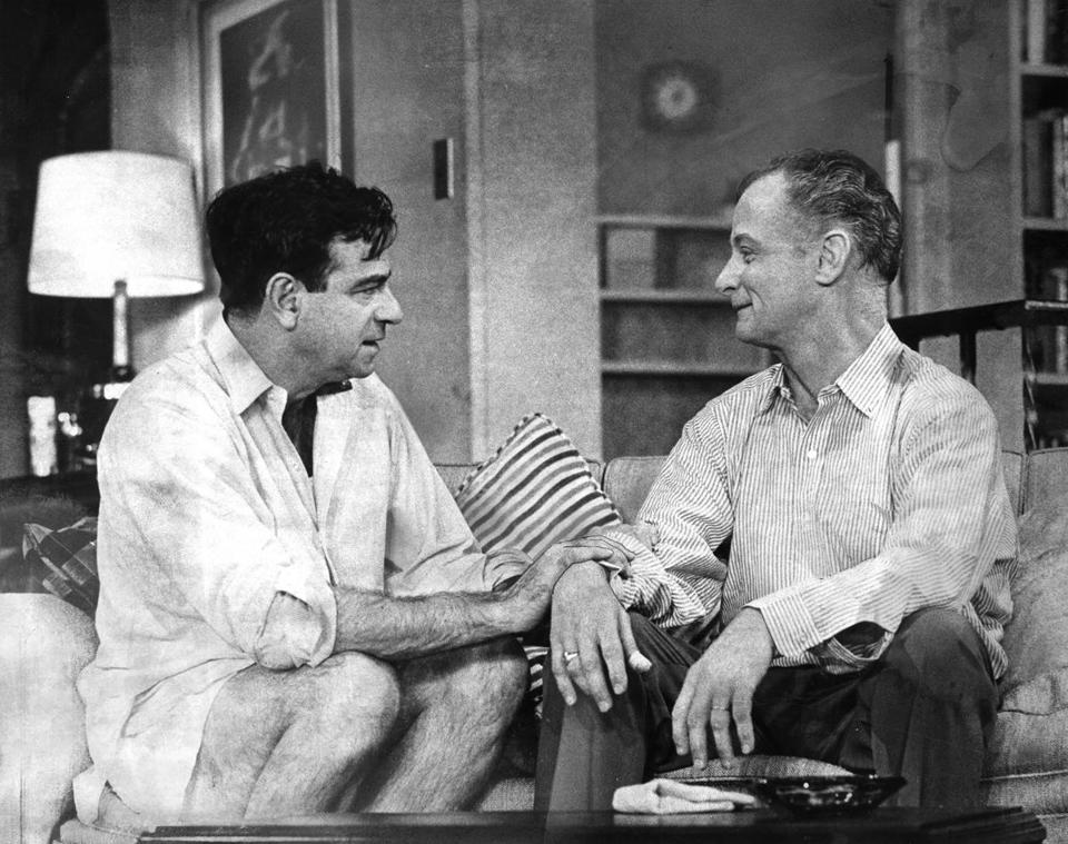 "Walter Matthau and Art Carney portrayed Oscar Madison and Felix Ungar in a scene from the Neil Simon comedy ""The Odd Couple"" circa 1965."
