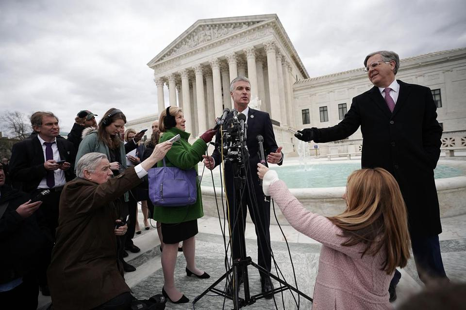 South Dakota Attorney General Marty Jackley spoke to members of the media outside the US Supreme Court in April.