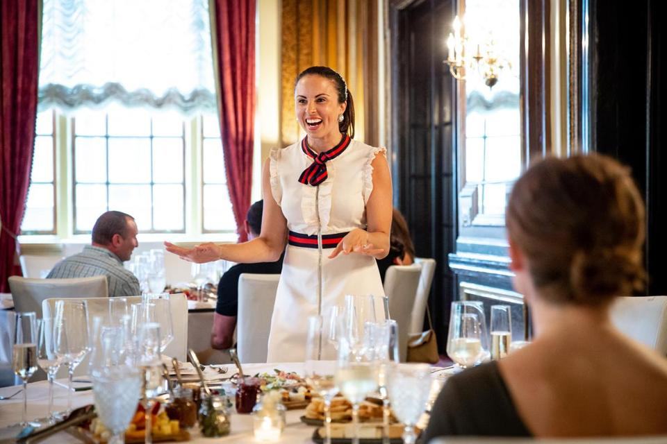 Myka Meier joked with attendees of a Beaumont Etiquette class at the Fairmont Copley Plaza Hotel in Boston this week.