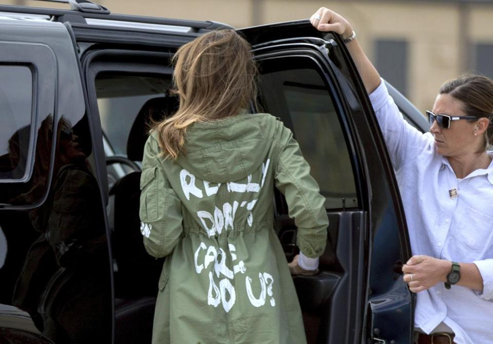 "The back of Melania Trump's jacket read: ""I really don't care, do u?"" The first lady wore the jacket while boarding a plane in Maryland bound for Texas, where she visited the US-Mexico border."