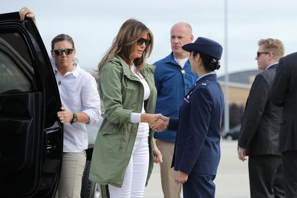 JOINT BASE ANDREWS, MD - JUNE 21: U.S. first lady Melania Trump steps out of her motorcade before boarding an Air Force plane and traveling to Texas to visit facilities that house and care for children taken from their parents at the U.S.-Mexico border June 21, 2018 at Joint Base Andrews, Maryland. The first lady is traveling to Texas to see first hand the condition and treatment that children taken from their families at the border were receiving from the federal government. Following public outcry and criticism from members of his own party, President Donald Trump signed an executive order Wednesday to stop the separation of migrant children from their families, a practice the administration employed to deter illegal immigration at the U.S.-Mexico border. (Photo by Chip Somodevilla/Getty Images)