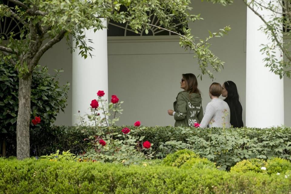 First lady Melania Trump arrives at the White House, in Washington, Thursday, June 21, 2018, after visiting the Upbring New Hope Children Center run by the Lutheran Social Services of the South in McAllen, Texas. (AP Photo/Andrew Harnik)