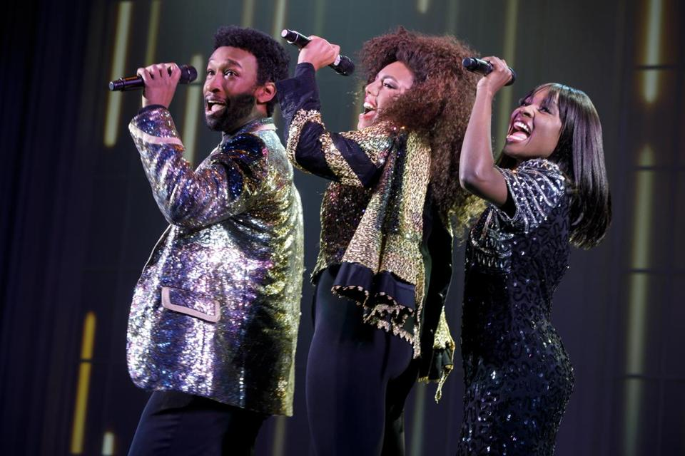 "From left: Donald Webber Jr. as BeBe Winans, Liisi LaFontaine as Whitney Houston, and Loren Lott as CeCe Winans in ""Born For This."""