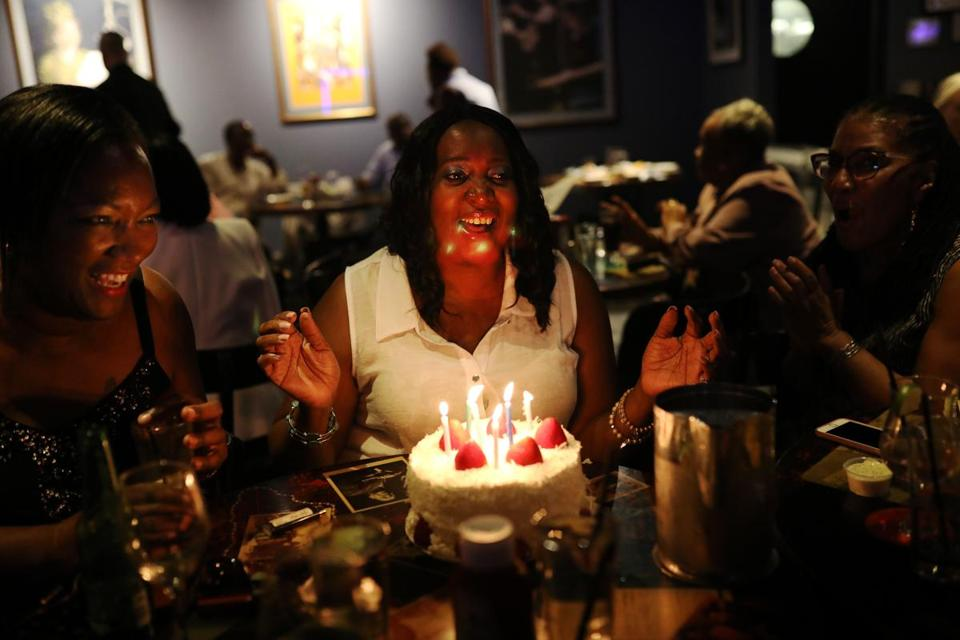 CAMBRIDGE, MA - 06/21/2018 Jan Gadson celebrates her birthday with friends at Ryles Jazz Club. Gadson came to see Athene Wilson and Friends Band perform at Ryles for the last time before the club is closing at the month's end after 40 years. Erin Clark for the Boston Globe