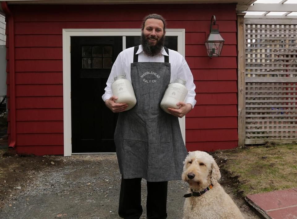 Andrew Bushell of Marblehead Salt Co. and Marblehead Brewing Co. and his dog Theo.