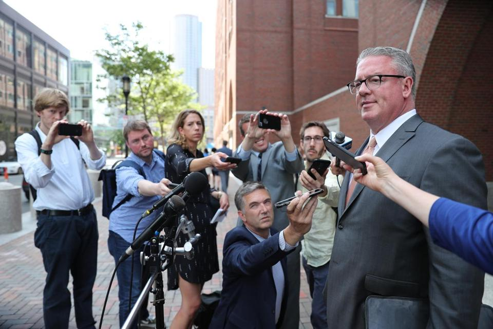 "Boston MA 6/22/18 Steven Boozang the attorney for Francis P. ""Cadillac Frank"" Salemme answering questions from the media in front of the Moakley Courthouse after a guilty verdict was announced in the trial of Francis P. ""Cadillac Frank"" Salemme. (photo by Matthew J. Lee/Globe staff)"