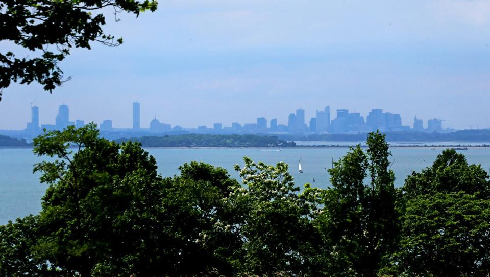 A view of the Boston skyline is the reward after climbing Planters Hill.