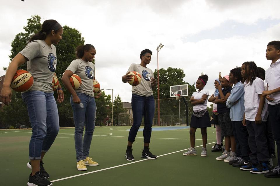 Minnesota Lynx players spoke with students in Washington, D.C., as part of their day of service in early June.)