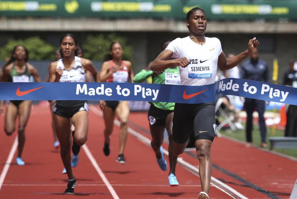 Caster Semenya (right) won the 800 meters at the Prefontaine Classic in Oregon in May.