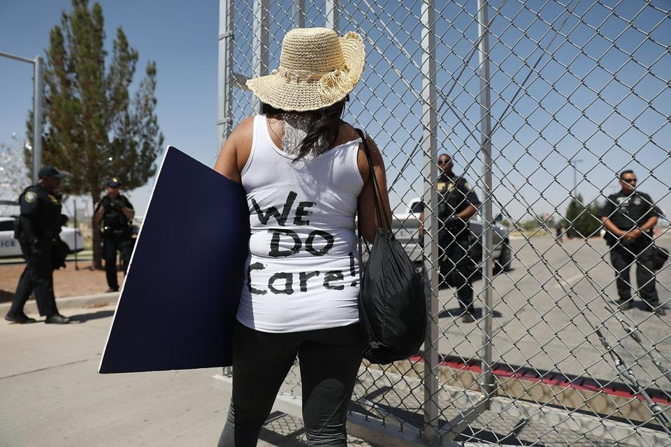A protester wore her sentiment on her back during a protest at the Tornillo-Guadalupe port of entry gate on Sunday.
