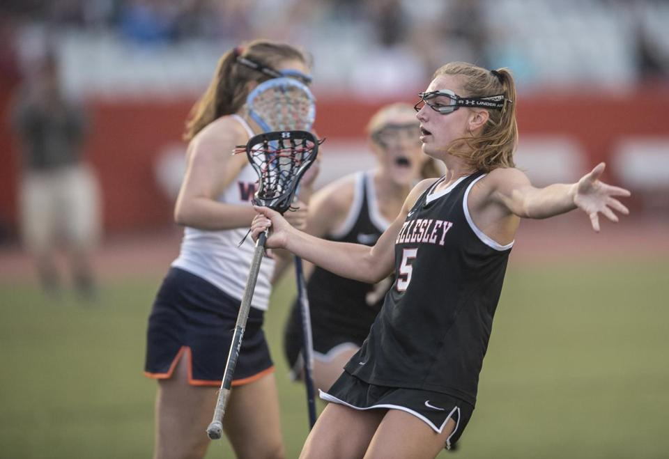 Boston, MA - 6/23/2018 - Wellesley #5 Grace Ahonen celebrates a goal in the first period. Wellesley High school girls lacrosse vs Walpole high school girls lacrosse, Division I Girls. (John Cetrino for The Boston Globe) SPORTS