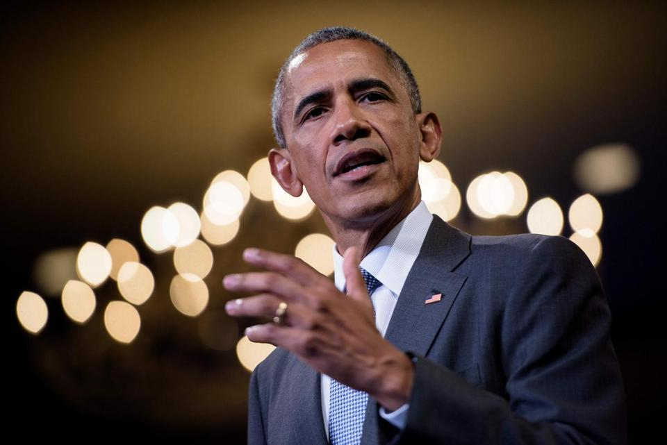 (FILES) In this file photo taken on August 3, 2016 US President Barack Obama speaks at the Presidential Summit of the Mandela Washington Fellowship for Young African Leaders at the Omni Shoreham Hotel in Washington, DC. Former US president Barack Obama will deliver the annual Nelson Mandela memorial lecture at a 4,000-capacity arena in Johannesburg in July, South African organisers announced on April 23, 2018. Obama, who met with Mandela in 2005 and who made an emotional address at his funeral, will speak at the lecture marking 100 years since the anti-apartheid icon was born. / AFP PHOTO / Brendan SmialowskiBRENDAN SMIALOWSKI/AFP/Getty Images