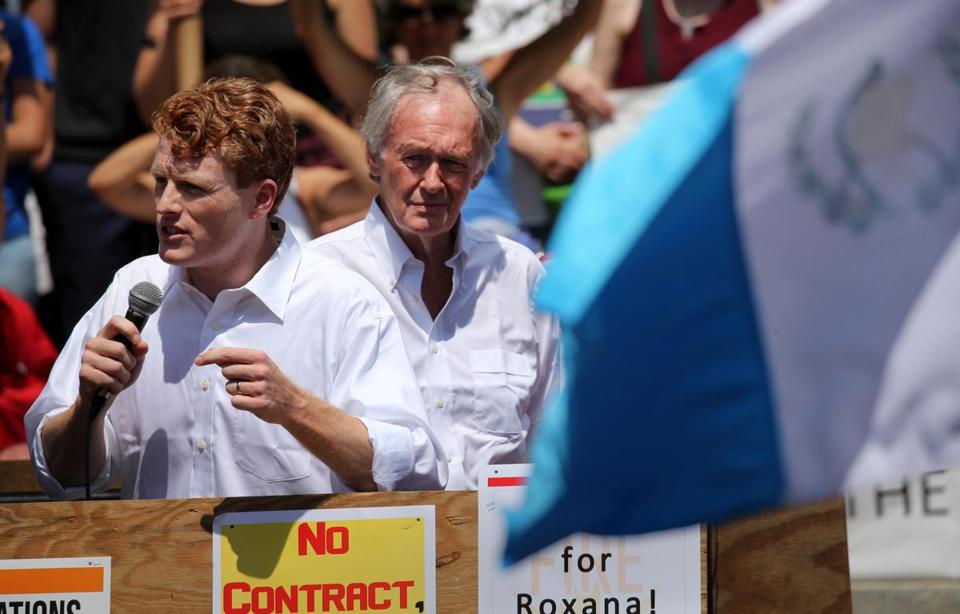 US  Representative Joseph P. Kennedy III and US Senator Edward Markey addressed the demonstrators on Saturday.