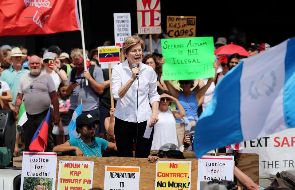 US Senator Elizabeth Warren spoke to the crowd on Saturday.