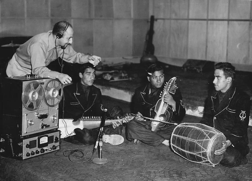 Mr. Sarkisian (left) recorded the top musicians at Kabul Radio in Afghanistan in the 1950s.