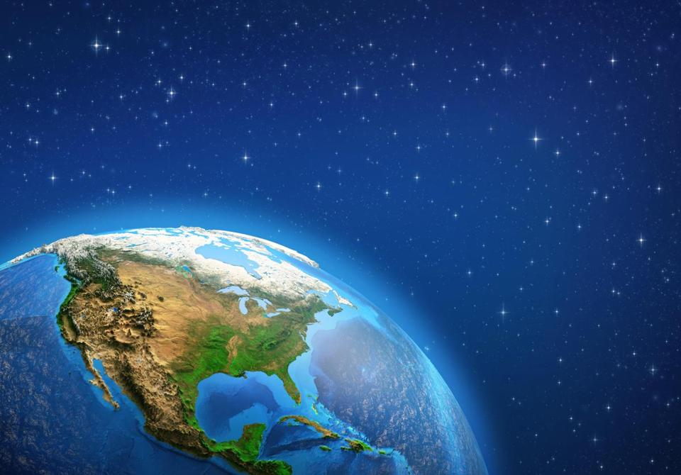 Planet Earth in deep space, focused on North America. 3D illustration - Elements of this image furnished by NASA.