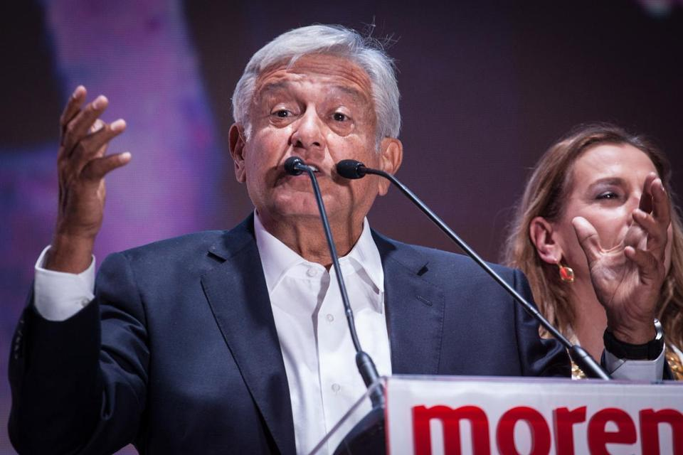 Andrés Manuel López Obrador, Mexico's president-elect, addressed supporters late Sunday in Mexico City.