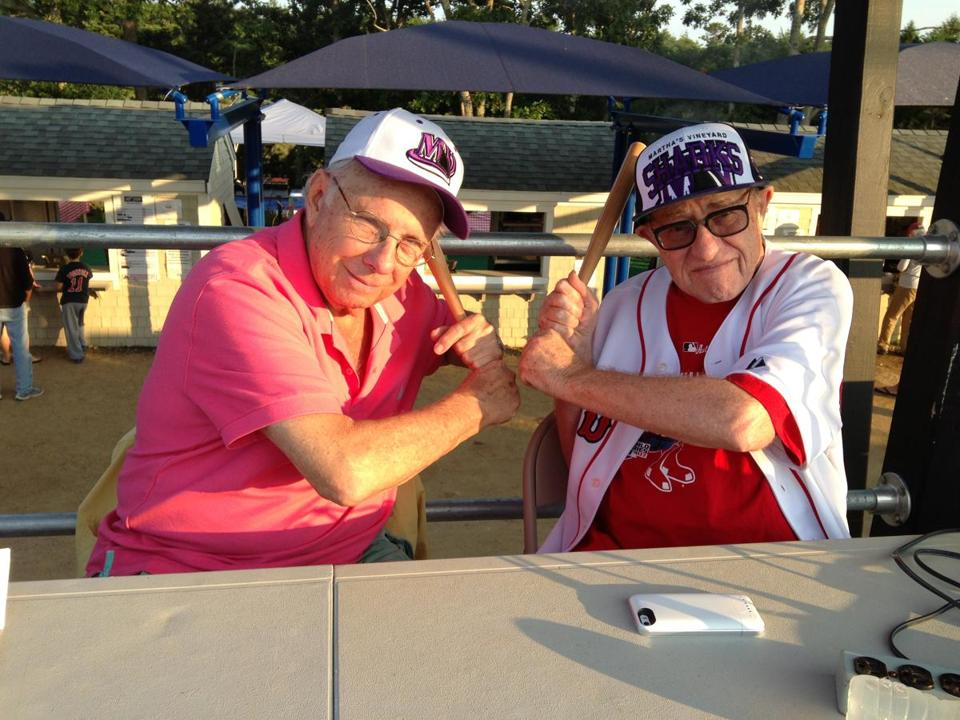 13names - Larry Ruttman, left, and Alan Dershowitz at the Martha's Vineyard Sharks game. (Handout)