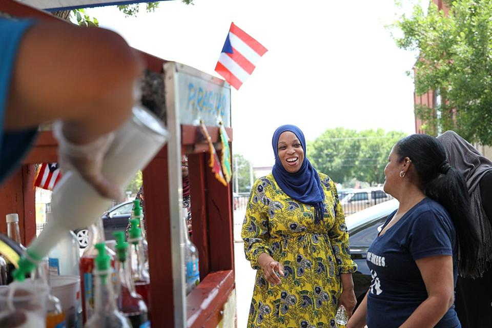 Tahirah Amatul-Wadud greeted voters on Main Street in Holyoke on July 3. A lawyer and mother of seven from Springfield, she   lags far behind Representative Richard Neal in name recognition in the First Congressional District, a patchwork quilt of cities, suburbs, and hill towns that is 86 percent white and has never elected a woman to Congress.