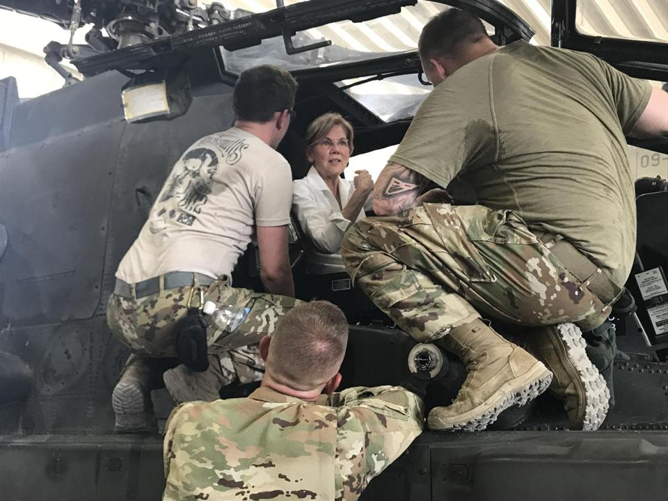 Senator Elizabeth Warren also visited with US troops during the Middle East trip.