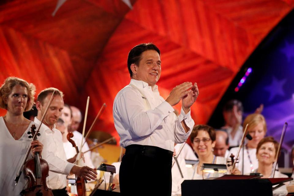 Boston, MA - July 04, 2018: Keith Lockhart during the Boston Pops Fireworks Spectacular at the Hatch Shell on the Esplanade in Boston, MA on July 04, 2018. (Craig F. Walker/Globe Staff) section: metro reporter: