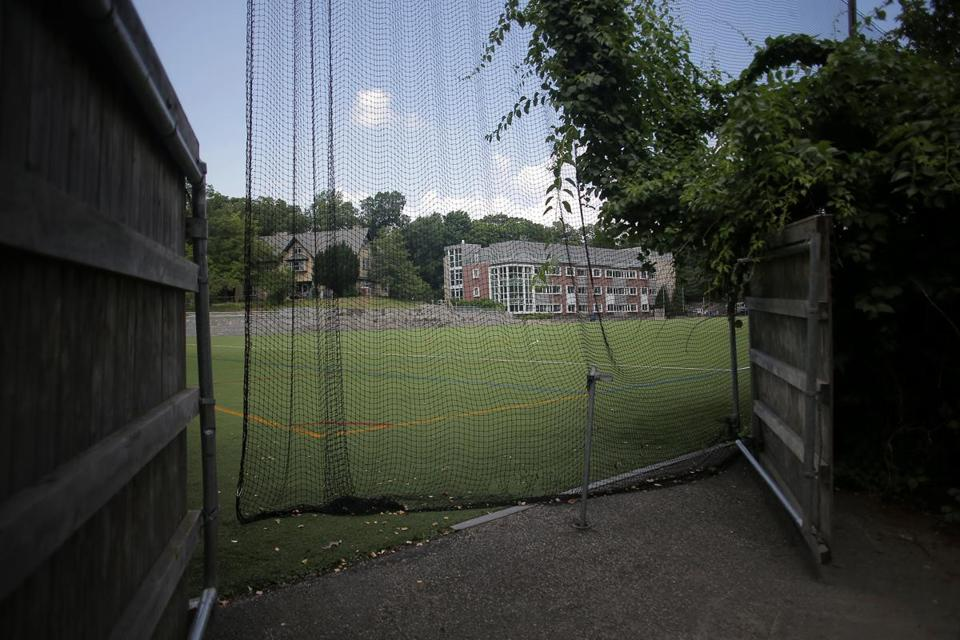 A view of Grellier Field, where Lasell College plans to erect four 70-foot-tall lights.